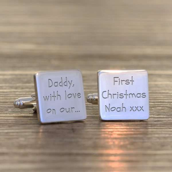 Personalised 1st Christmas Daddy Cufflinks