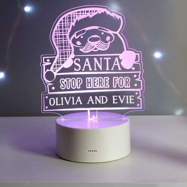 Personalised Santa Stop Here Light