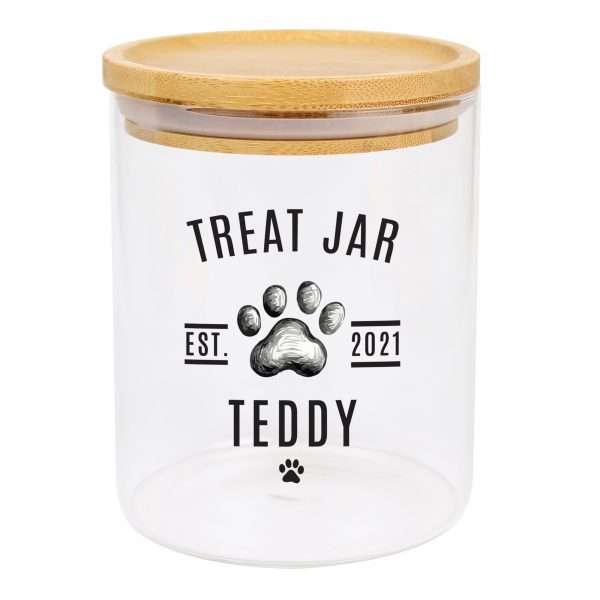Personalised Dog Treat Jar with Bamboo Lid